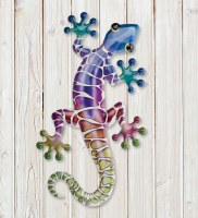 """18"""" Blue, Purple, and Green Metal Gecko Wall Plaque"""