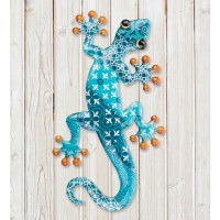 """18"""" Blue Patterned Metal Gecko Wall Plaque"""