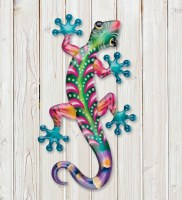 """18"""" Green and Pink Metal Gecko Wall Plaque"""