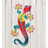"""18"""" Red, Yellow, and Blue Metal Gecko Wall Plaque"""