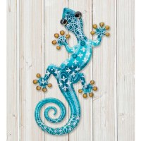 """8"""" Blue Patterned Metal Gecko Wall Plaque"""