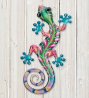 """8"""" Green and Pink Metal Gecko Wall Plaque"""