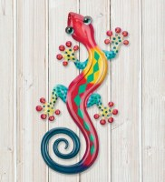 """8"""" Red, Yellow, and Blue Metal Gecko Wall Plaque"""