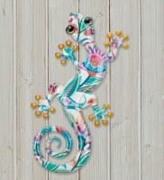 "8"" White Multicolor Paisley Metal Gecko Wall Plaque"