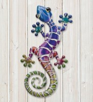 """8"""" Purple, Green, and Blue Metal Gecko Wall Plaque"""