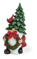 """8"""" Holly Hat Gnome With Wreath"""
