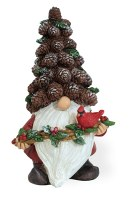 """8"""" Pinecone Hat Gnome With Branch"""