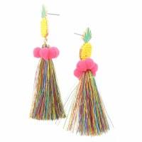 Multicolor Pineapple Tassel Earrings With Poms