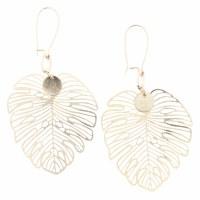 Gold Openwork Monstera Leaf Earrings