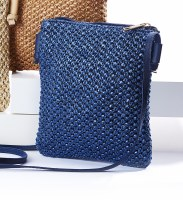 """8"""" x 7"""" Blue Woven Crossbody Purse With Long Strap"""