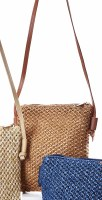 """8"""" x 7"""" Light Brown Woven Crossbody Purse With Long Strap"""