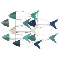 "40"" Blue, Green, and White School of Fish Metal Wine Wall Rack"