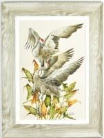 """32"""" x 24"""" Sandhill Cranes Gel Textured Print in Gray Frame"""