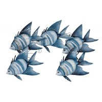 """29"""" Blue White Metal and Capiz Five Fish School Wall Plaque"""