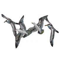 """21"""" White Metal And Capiz Seagull Flock Wall Plaque"""