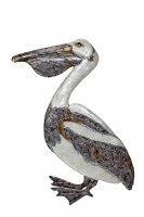 "21"" White and Silver Capiz and Metal Pelican Wall Plaque"