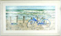 "28"" x 48"" Blue Bike Gel Textured Print in Beach White Frame"