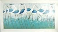 "29"" x 53"" 10 Blue Ibises Gel Textured Print in White Frame"