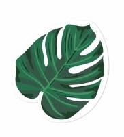 """5"""" x 7"""" Green Monstera Leaf Shaped Beverage Napkins"""