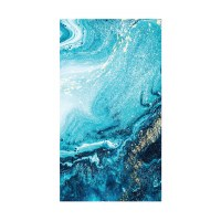 """5"""" x 8"""" Blue and Gold Marbled Wave Guest Towels"""