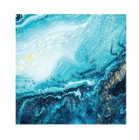 "6.5"" Square Blue and Gold Marbled Wave Lunch Napkins"