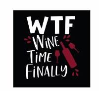 "5"" Square Black and Burgundy WTF Wine Time Finally Beverage Napkins"