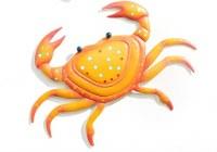 "13"" Yellow and Coral Crab Metal Wall Decor"