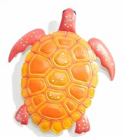 """12"""" Yellow and Coral Turtle Metal Wall Decor"""