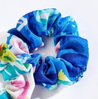Blue Multicolor Print Hair Scrunchie