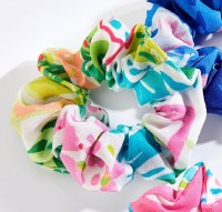 White Multicolor Print Hair Scrunchie