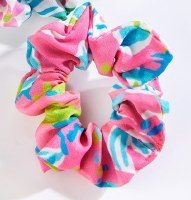 Pink Multicolor Print Hair Scrunchie