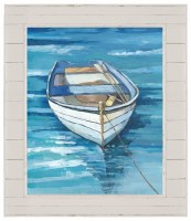 """52"""" x 44"""" Blue Dinghy Canvas in Distressed White Shiplap Frame"""