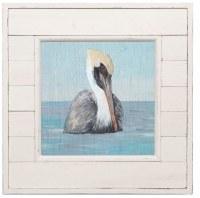 "14"" Square Pelican Portrait in Distressed White Shiplap Frame"