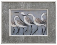 "20"" x 24"" Four Modern Sandpipers in Gray Slat Frame"