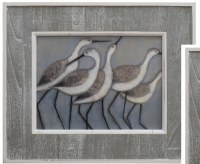 "20"" x 24"" Five Modern Sandpipers in Gray Slat Frame"
