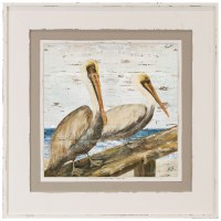 "32"" Square Pelicans on Railing in White and Tan Frame"