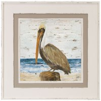 "32"" Square Pelican on Post in White and Tan Frame"