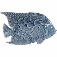 "9"" Dark Blue Ceramic Fish Trinket Dish"