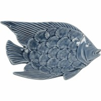 "5"" Dark Blue Ceramic Fish Trinket Dish"
