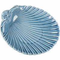 "7"" Blue Ceramic Shell Trinket Dish"