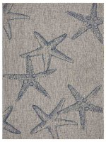 5' x 7' Gray and Navy Starfish Rug