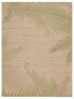 3' x 5' Beige and Green Palm Frond Rug