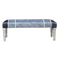 "47"" Upholstered Navy Bench"