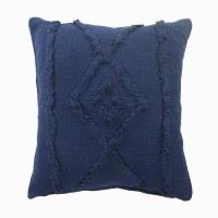 """20"""" Square Dark Blue Raised Diamond Pillow"""