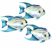 """16"""" x 11"""" Blue, Turquoise, and White Capiz Fish Trio Wall Plaque"""