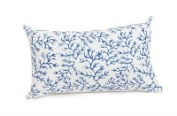 """12"""" x 20"""" Blue Coral on White Pillow"""