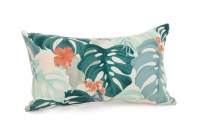 """12"""" x 20"""" Coral Hibiscus and Green Tropical Leaves Pillow"""