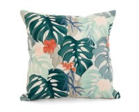 """18"""" Square Coral Hibiscus and Green Tropical Leaves Pillow"""