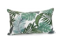 """12"""" x 20"""" Green Tropical Leaves Pillow"""