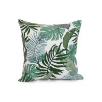 """18"""" Square Green Tropical Leaves Pillow"""